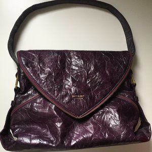Mat & Nat Wrinkled Purple Zippered Large Handbag